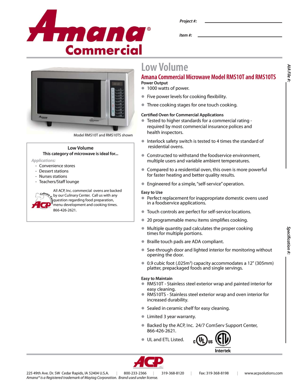 Microwaves for Home construction specification sheet