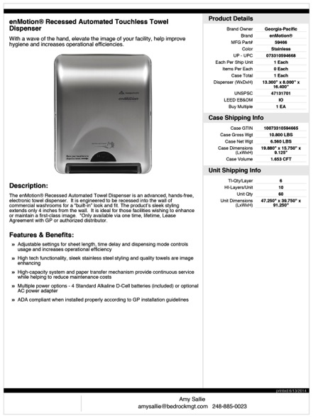 Towel dispenser for Home construction specification sheet